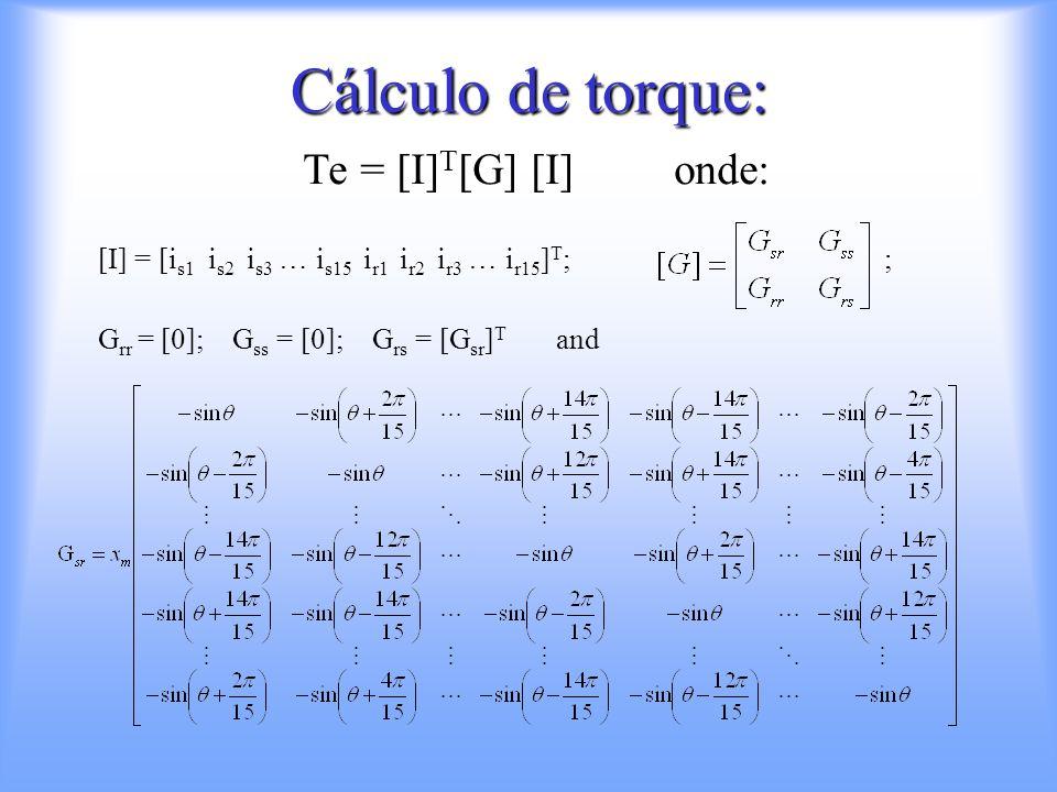 Cálculo de torque: Te = [I]T[G] [I] onde: